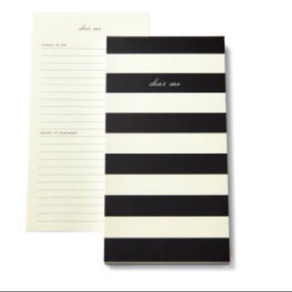 New Kate Spade NY Dear Me Black Striped Notepad
